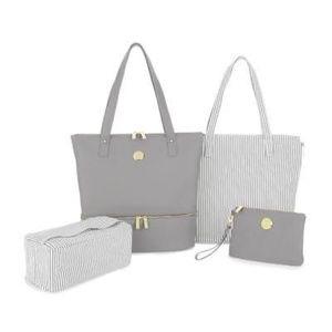 Joy Mangano 4 pc Travel Bag Gray NWT Leather